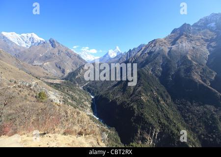 Sagamartha, Mount Everest viewed from Namche Bazar - Stock Photo