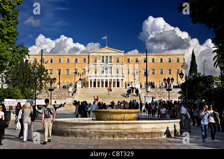 The Greek Parliament in Syntagma ('Constitution') square, Athens, Greece - Stock Photo