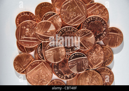 Collection of British new pence, Greater London, England, United Kingdom - Stock Photo