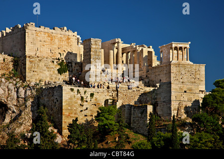 The Propylaea of the Acropolis of Athens with the temple of Athena Nike on the upper right side. Athens, Gree - Stock Photo