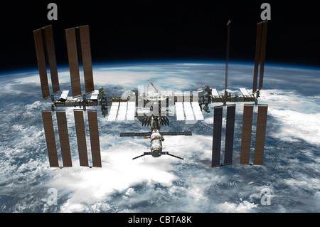 The International Space Station Space Shuttle Mission 134 as photographed from Endeavor May 2011 - Stock Photo