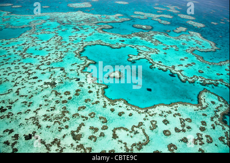Aerial views of beautiful Heart Reef in the spectacular Great Barrier Reef near the Whitsunday Islands in Queensland, - Stock Photo
