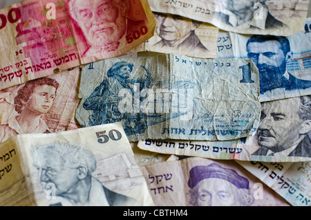 Old Israeli money currency notes. - Stock Photo