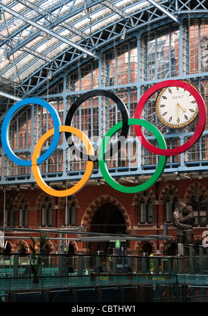 Olympic rings in St Pancras station, London, UK - Stock Photo