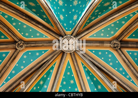 Ceiling above Grand staircase in the St. Pancras Renaissance Hotel, London, UK - Stock Photo