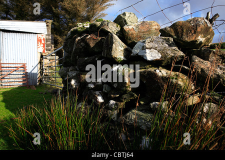 Dry Stone Wall and Wire Fence Gate Shed Ireland - Stock Photo