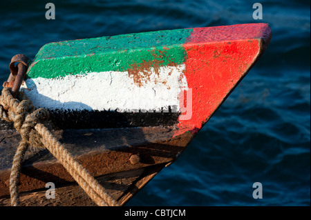 Prow of Abra ferry  painted with flag of United Arab Emirates Dubai in United Arab Emirates - Stock Photo
