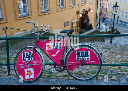 KGB museum sign advert Mala Strana district Prague Czech Republic Europe - Stock Photo