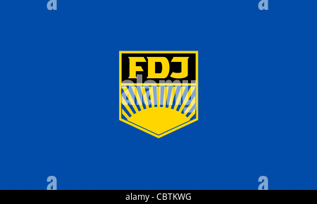 Flag of the GDR youth organization 'Freie Deutsche Jugend' FDJ with the emblem of the state near youth organization. - Stock Photo