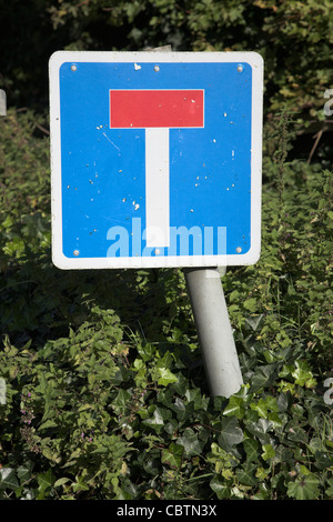 Blue square No Through Road road traffic sign - Stock Photo