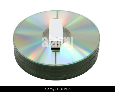USB flash drive on CD stack - Stock Photo