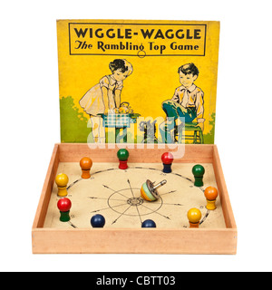 Rare 1937 vintage 'Wiggle-Waggle, the Rambling Top Game' by Milton Bradley (No 4375) - Stock Photo