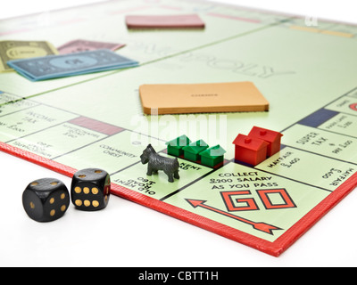 Monopoly property trading board game - Stock Photo