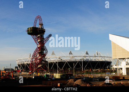 The London 2012 Olympic Stadium Construction Site, Olympic Park, Stratford, London, England, UK - Stock Photo