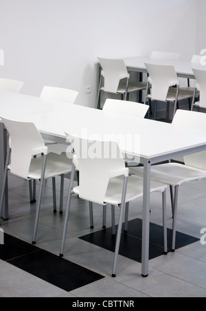Interior of Modern Black and White Dining Hall - Stock Photo