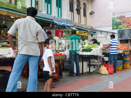 A father and son shopping, Little India, SIngapore - Stock Photo