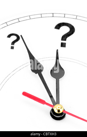question mark clock, concept of time - Stock Photo