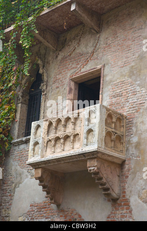 The famous balcony Casa di Giulietta the Juliet's house courtyard Verona the Veneto region northern Italy Europe - Stock Photo