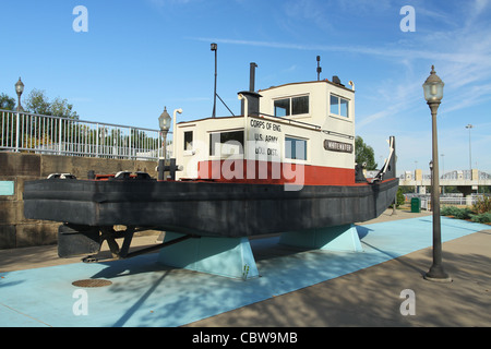 Boat named Whitewater on display. McAlpine Locks and Dam. On the Ohio River. Louisville, Kentucky, USA. - Stock Photo
