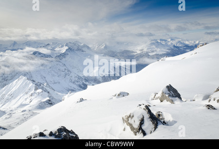 View from the summit of Weissfluhgipfel, Davos, Switzerland - Stock Photo