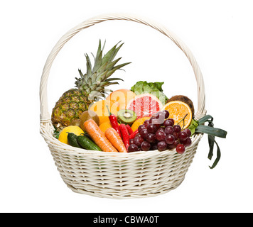 Healthy eating in basket isolated on white - Stock Photo