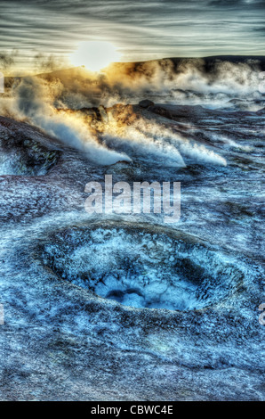 Fumaroles and strange landscapes at Sol de Manana geothermal field in Bolivia near the Bolivia/Chile border - Stock Photo