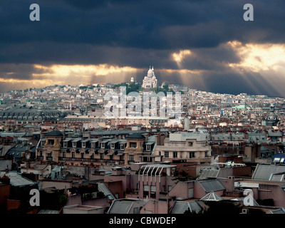 Paris, France, Europe - in the evening light with storm clouds - Stock Photo