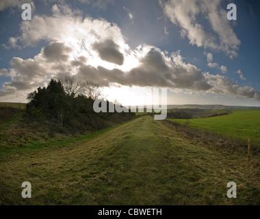 Rackham Banks Iron Age Dyke near Amberley, West Sussex, UK - Stock Photo