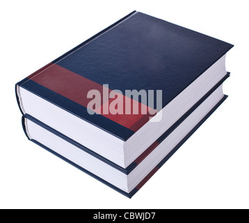 Opened book on stack isolated on white background - Stock Photo