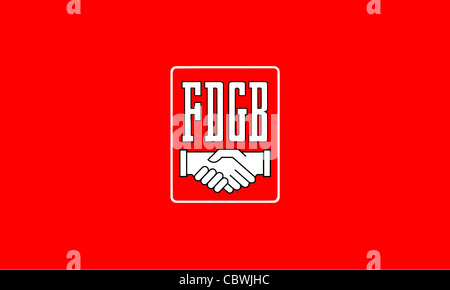 Flag of the trade union association 'Free German Trade Union Federation' FDGB of the GDR. - Stock Photo