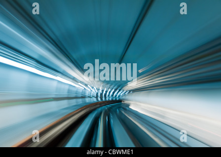 Train moving in subway tunnel - Stock Photo