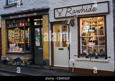 Shops with Christmas Xmas window displays in Hay-on-Wye Powys Wales UK - Stock Photo