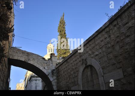 Arch by the First Station, Via Dolorosa,Old city,Jerusalem - Stock Photo