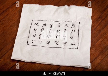 twenty four letters of Greek alphabet from alpha to omega (in lower case) handwritten on a white napkin - Stock Photo