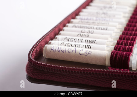 midwifes equipment. many homeopathic globule ordered by name. No product names, just common names of homeopathic - Stock Photo