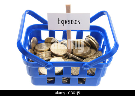 Basket with Coins - Stock Photo