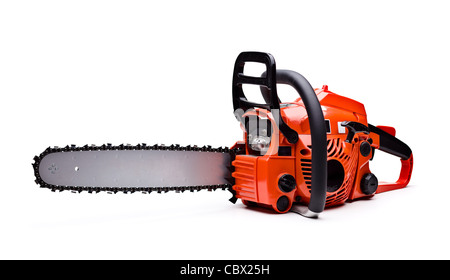 New red chainsaw isolated on white. - Stock Photo