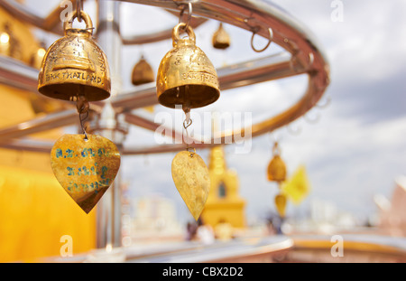 Thailand - Bangkok - Golden bells in Golden Mount - Wat Saket Buddhist temple - Stock Photo