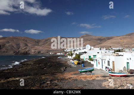 Fishing village Playa Quemada on Canary Island Lanzarote, Spain - Stock Photo