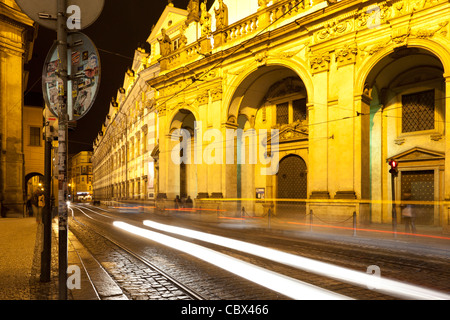 Streaks of light from passing cars on Krizovnicka in Old Town Prag. - Stock Photo