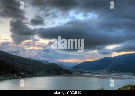 Sunset scene in New Zealand - Stock Photo