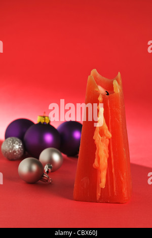 One red Candle with Christmas Baubles