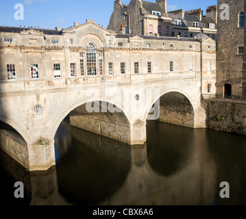 Pulteney Bridge on the River Avon, Bath, England - Stock Photo