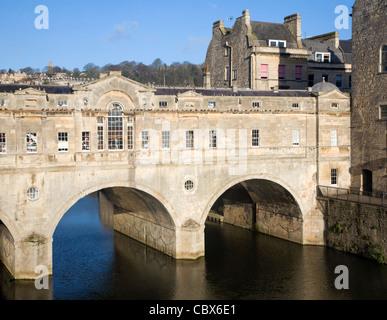 Pulteney Bridge on the River Avon, Bath, England - Stock Photo