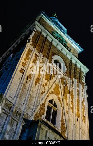 Tower of St Mary's Basilica, Rynek Glowny, Krakow - Stock Photo