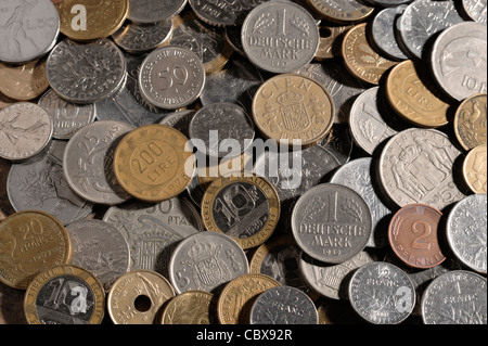 Coins from Europe before the Euro - Stock Photo