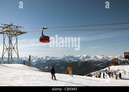 Coast Mountains and Peak 2 Peak gondola at Whistler w skiers - Stock Photo