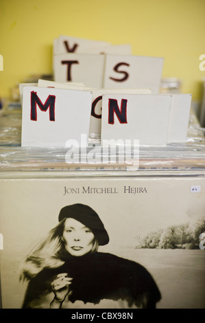 Vinyl LP record albums for sale in secondhand shop Hay-on-Wye Powys Wales UK - Stock Photo