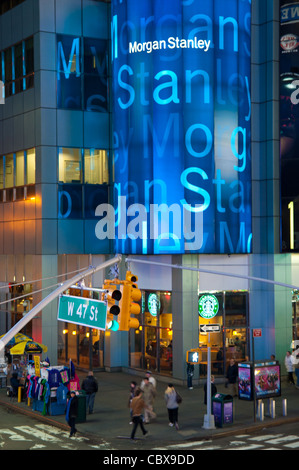 Morgan Stanley Office on W 47 street on Times Square, New York City, USA - Stock Photo