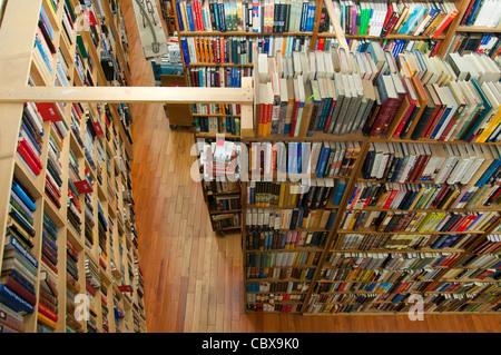 Bookshelves in Strand Bookstore on Broadway, Manhattan - Stock Photo